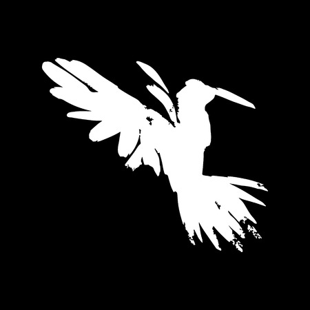 White raven. Hand drawn artistic blackbird. illustration in vector