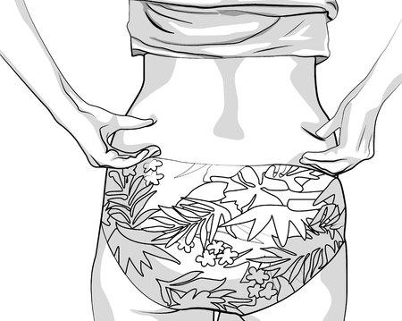 Dziewczyna zaciska rękoma fałdy boków. Kobiety z grubą talią. Kobiece dłonie dotykające jej tłuszczu na ciele czarną linią na białym tle