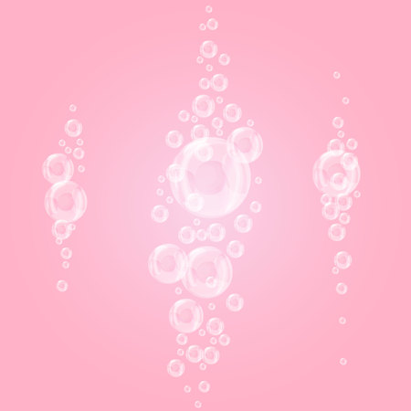 Bubbles underwater set isolated on pink background
