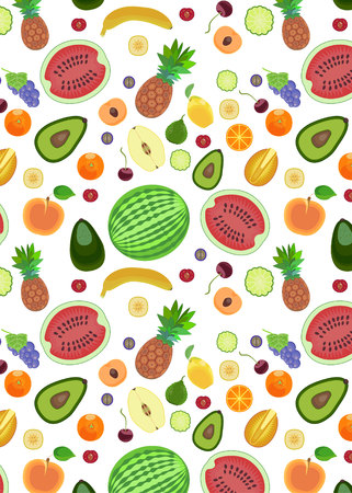 pattern from different types of fruits in a flat style