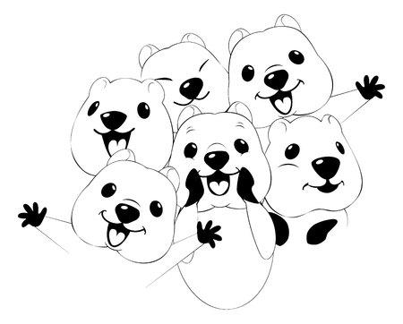 a vector quokka illustration style Flat Illustration
