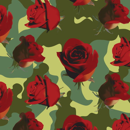 Fashionable camouflage pattern with red roses with green leaves