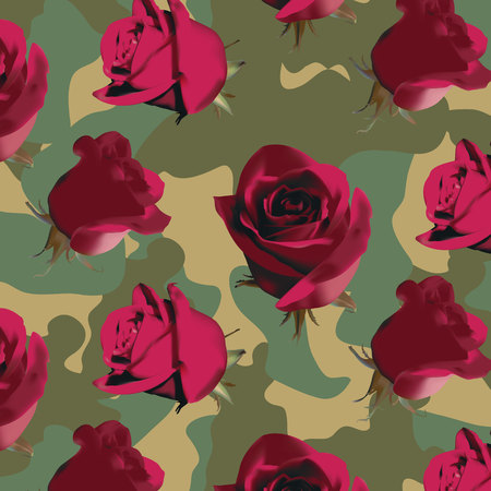 Fashionable camouflage pattern with pink roses with green leaves Illustration