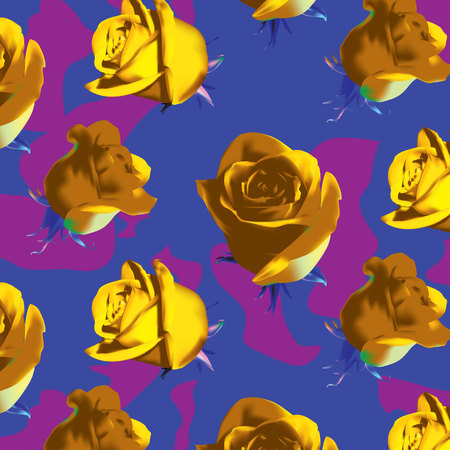 Fashionable camouflage violet and pink pattern with yellow roses with green leaves