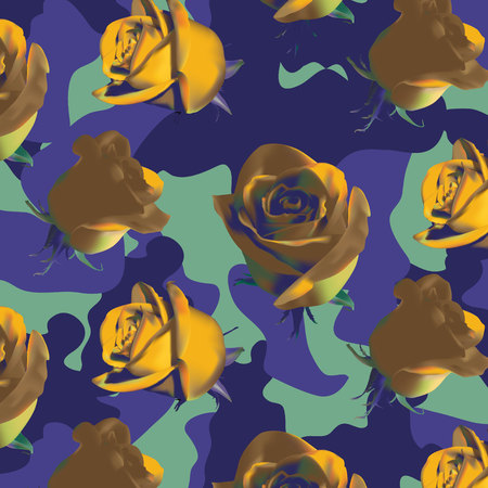 Fashionable camouflage violet and green pattern with yellow roses with green leaves