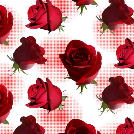 A pattern with red roses with green leaves against a red circle consisting of small circles.