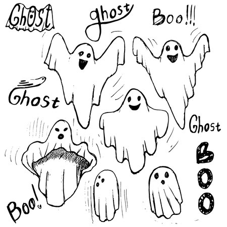 Whisper Ghost hand draw set. Ghost character Costume evil or Character creepy funny cute. Illustration