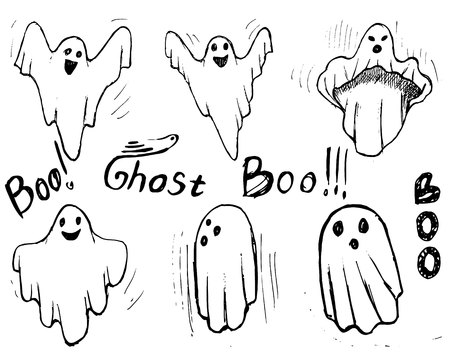 Whisper Ghost hand draw set. Ghost character Costume evil or Character creepy funny cute.