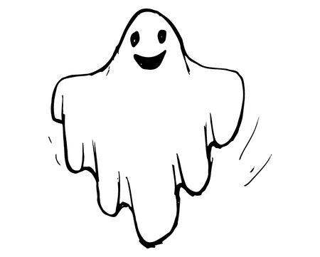 Whisper Ghost hand draw. Ghost character Costume evil or Character creepy funny cute.