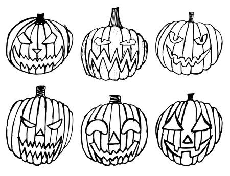 Set of Halloween scary pumpkins. Autumn holidays. hand draw pumpkins Ilustração