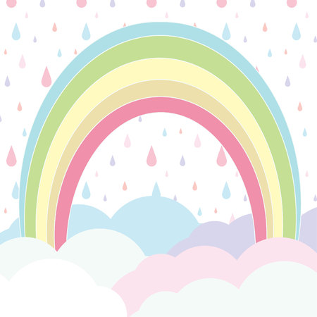 rainbow with cloudy on Rain pattern. Cloudy and Rainy Background. Cute pastel cloudy and rain falling background.
