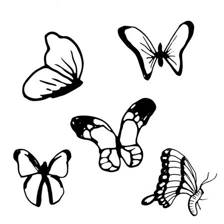 Hand drawn doodle butterfly set.Perfect for invitation, greeting card, coloring book, textile print.