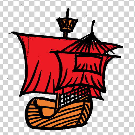 sketche of ship with RED sails on a transparent background. Vectores