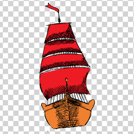 sketche of ship with RED sails on a transparent background. Illustration