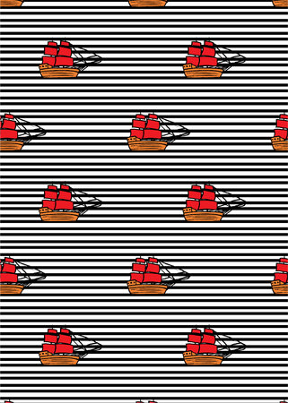 pattern with ships with RED sails on black line pattern