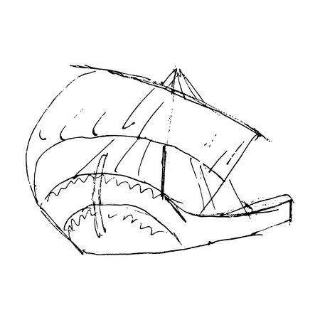 sketche of ship with sails on white background