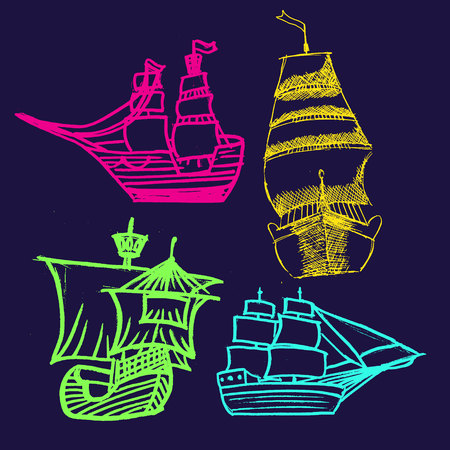 a set of sketches of ships with sails in bright colors Illustration