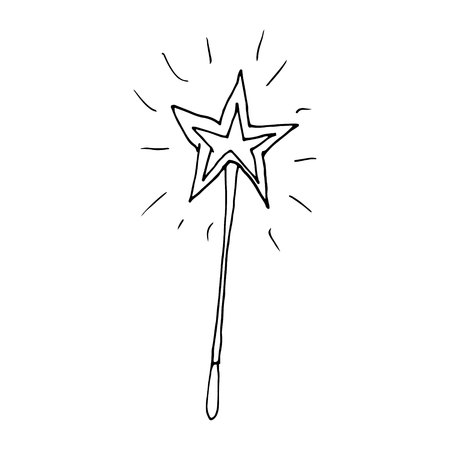 Hand drawn doodle magic wand.Perfect for invitation, greeting card, coloring book, textile print.
