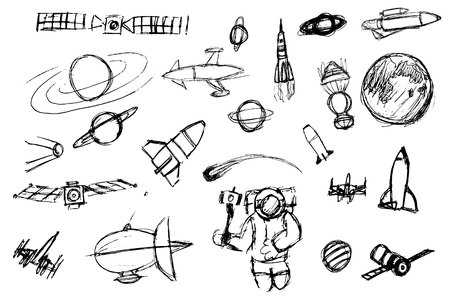 Hand drawn space elements. Space doodle illustration. Vector illustration.