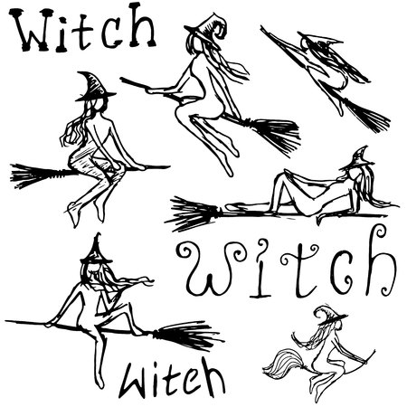 Black silhouettes with witches. set of attributes for Halloween isolated.
