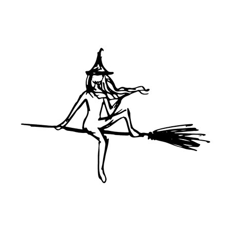 Black silhouette with witch. attribute for Halloween isolated.
