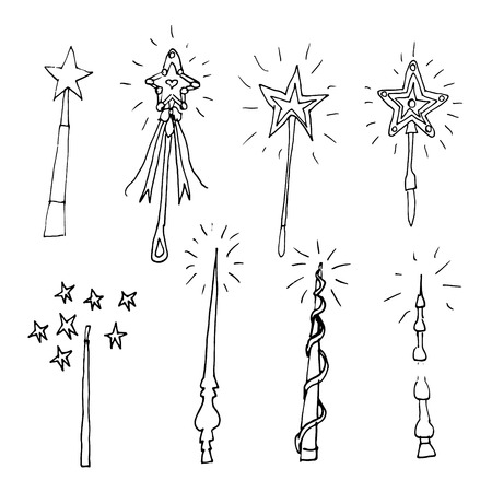 Hand drawn doodle magic wand set.Perfect for invitation, greeting card, coloring book, textile print.
