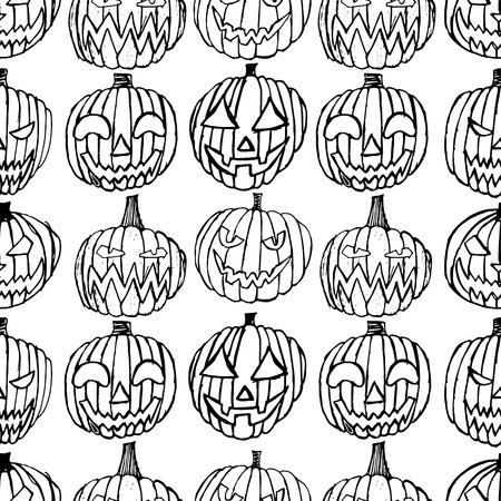pattern with Set of Halloween scary pumpkins. Autumn holidays. hand draw pumpkins