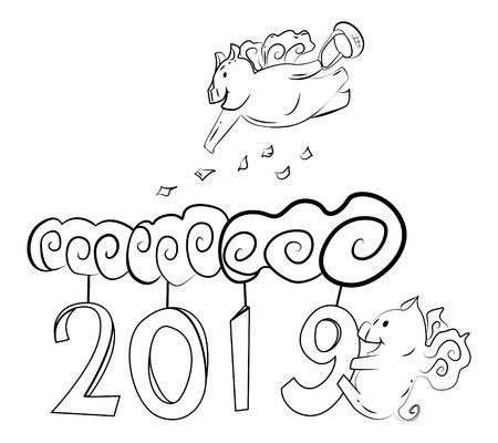 cute pigs with wings fly among the clouds and figures 2019.