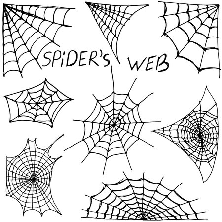 Collection of Cobweb isolated on black. Spiderweb for Halloween design. Halloween cobweb frame border and dividers isolated on white with spider web for spiderweb scary design