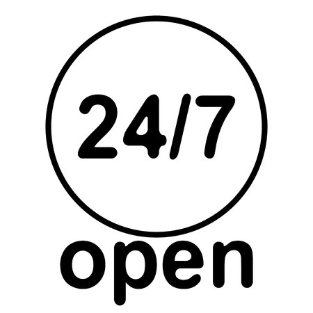 24 7 Service open 24h hours a day and 7 days a week. Illustration