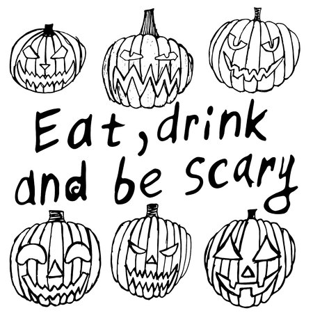 eat, drink and be scary of Halloween inscriptions with Set of Halloween scary pumpkins 일러스트