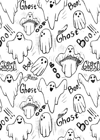 pattern with whisper ghost hand draw. Ghost character Costume evil or Character creepy funny cute.