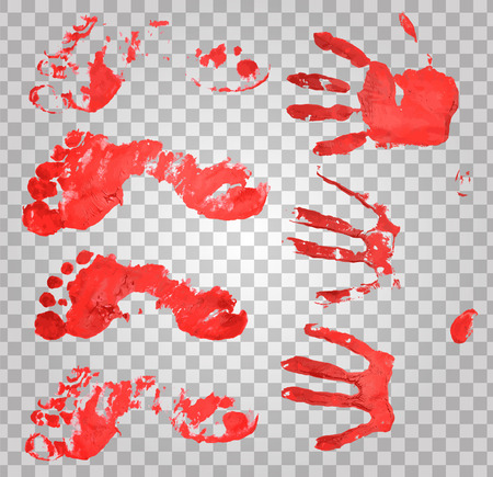Bloody handprints and feet. Blood splatter and bloody hand print, vector illustration