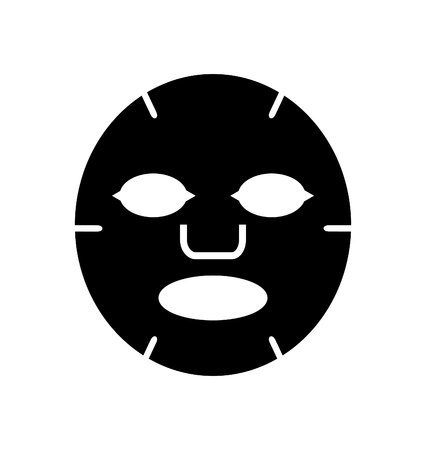 Facial mask black icon. Medicine, cosmetology and health care. Vector illustration flat design