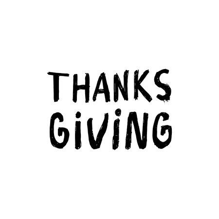 black inscription thanksgiving isolated on white Stock Vector - 124785174