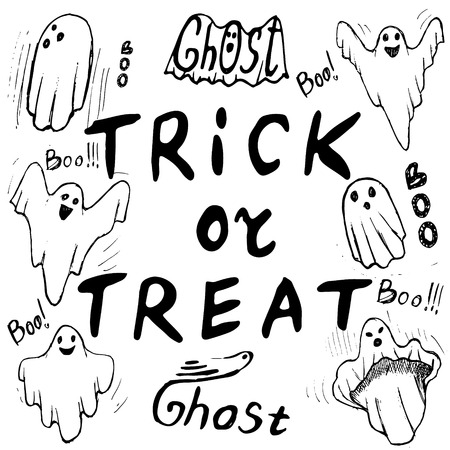 trick or treat of Halloween inscriptions with whisper ghost hand draw.