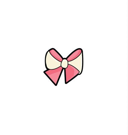 Pink Bow Isolated On White Background. decorative element, in flat style design, cartoon bows