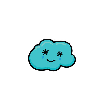cute cloud kawaii face vector illustration design. Smiling Cloud Isolated On White Background Ilustrace
