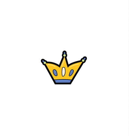 gold crown encrusted with rubies, emeralds and diamonds. Flat style vector illustration isolated on white background. Crown filled outline icon, line vector sign Çizim