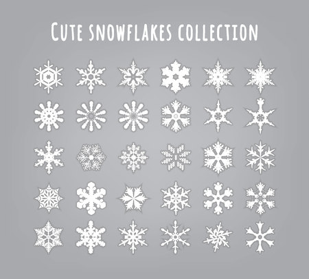 set snowflakes with shadow on grey background Ilustrace