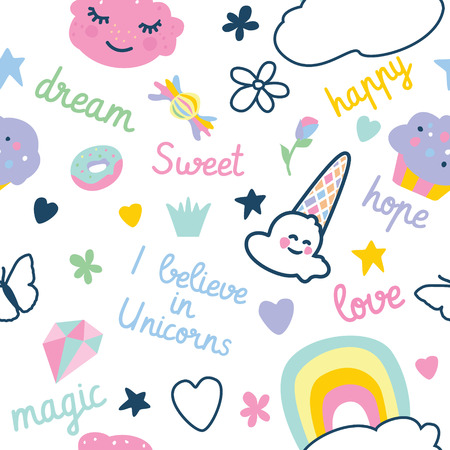 pattern with decorative elements rainbow, donut, ice cream, clouds, cupcake
