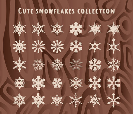 Cute snowflakes collection isolated on wood texture background. Flat snow icons, silhouette.