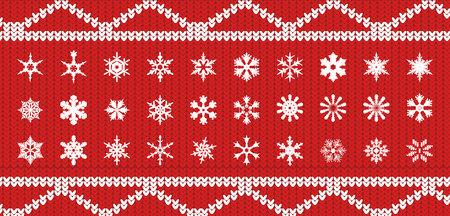 Placez des snowlakes sur une texture tricotée de couleur rouge avec un motif blanc sous forme de diagonales et de rayures Vecteurs