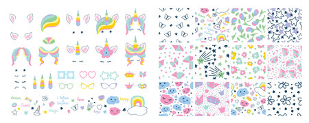 set with masks for photos with set seamless pattern . Cute unicorn face, glasses with different rims, hair, ears, horns, eyes, decorative elements and inscriptions. Illustration in flat style 일러스트