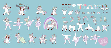 Big set with unicorns and unicorn parts for design. Set of Cute Cartoon Unicorn ballerina with decorations.