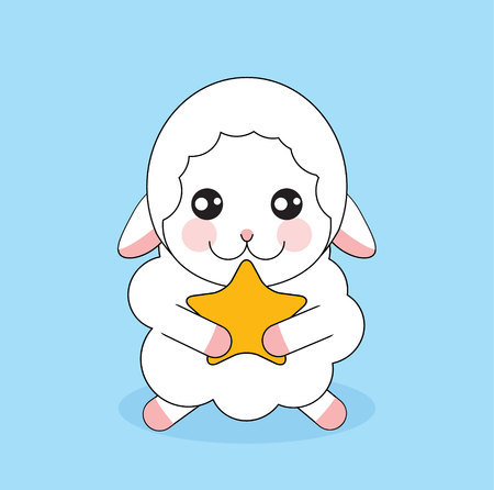 Cute cartoon sheep with gold star on blue background Illustration