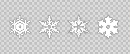 set snowflakes with shadow on transparent background Ilustrace