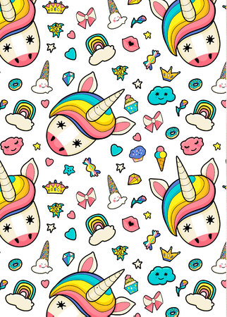 Pattern with cute faces of unicorns, ice cream, stars, hearts, donut, rainbow, crowns, cupcake. Dreaming unicorns in bright colors Stock Vector - 124561797