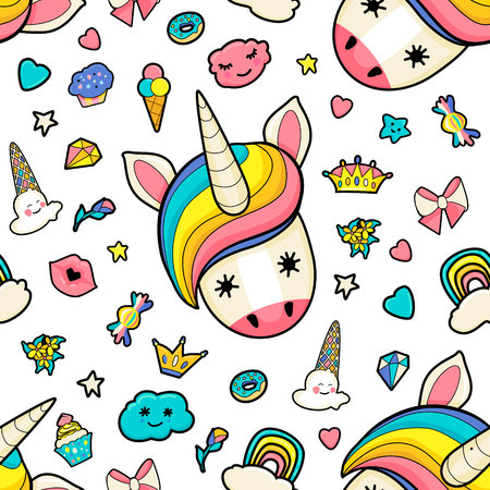 Pattern with cute faces of unicorns, ice cream, stars, hearts, donut, rainbow, crowns, cupcake. Dreaming unicorns in bright colors Illustration