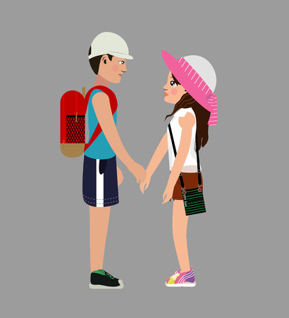 girl with a guy.The girl in a white transparent blouse, in yellow sneakers with medium brown hair and brown eyes, with a hat in her hands smiles.A guy in a blue T-shirt, blue shorts and black sneakers Stock Illustratie